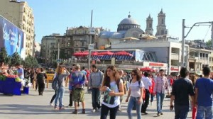 stock-footage-istanbul-jun-a-festival-atmosphere-prevailed-monday-in-taksim-square-on-fourth-day-june
